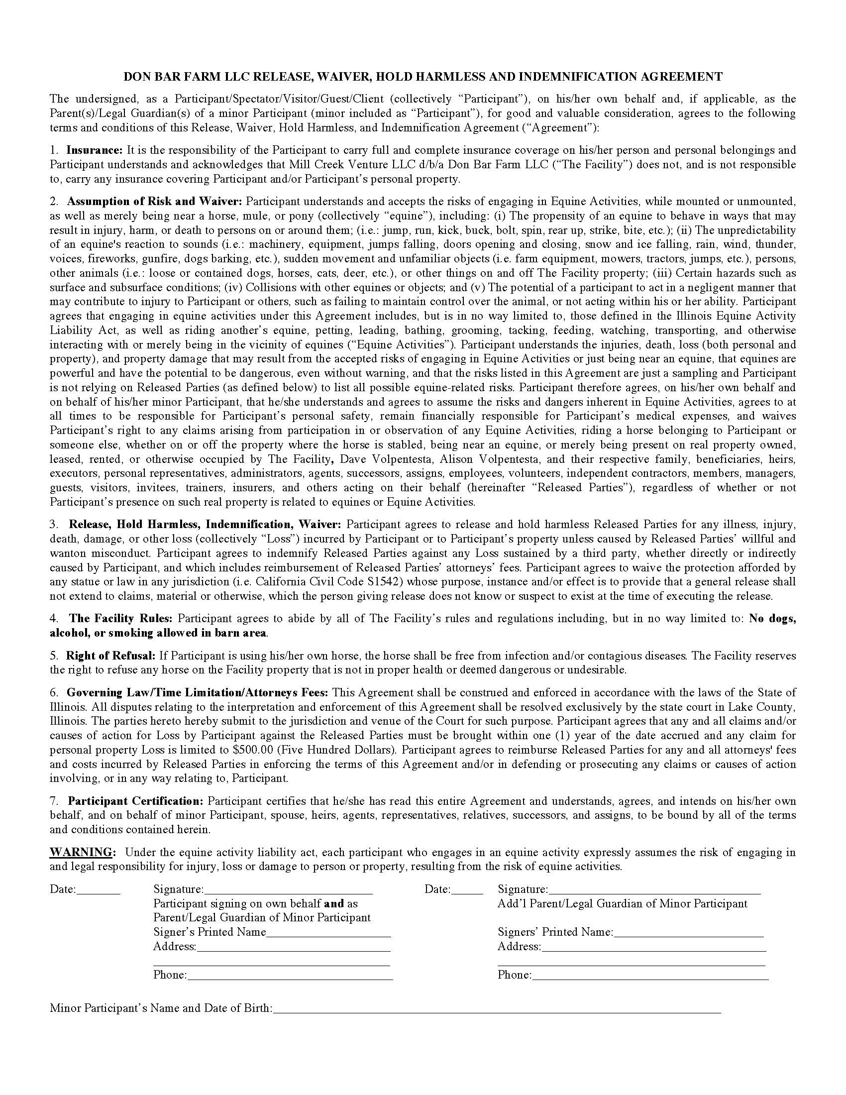 Helmet Waiver Form  Legal Liability Waiver Form